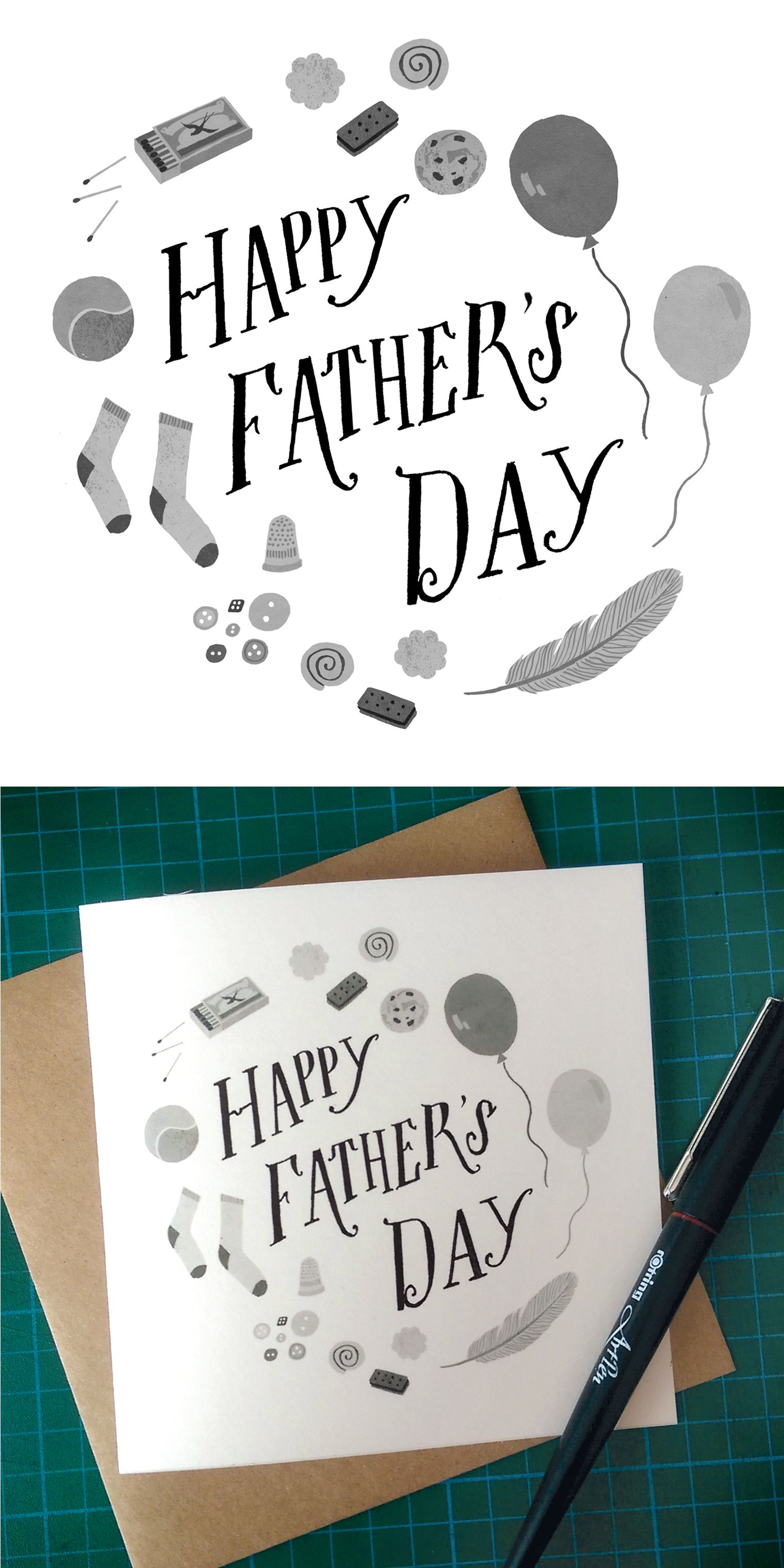 My Happy Fathers Day Illustrated Greetings Card, Hand Drawn With