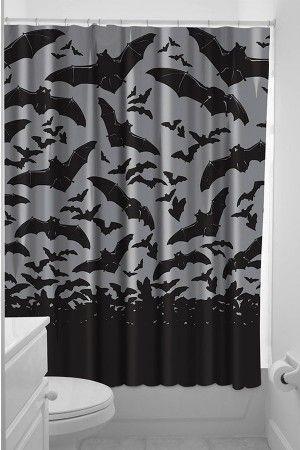 Sourpuss Clothing Spooksville Bats Shower Curtain Goth Home