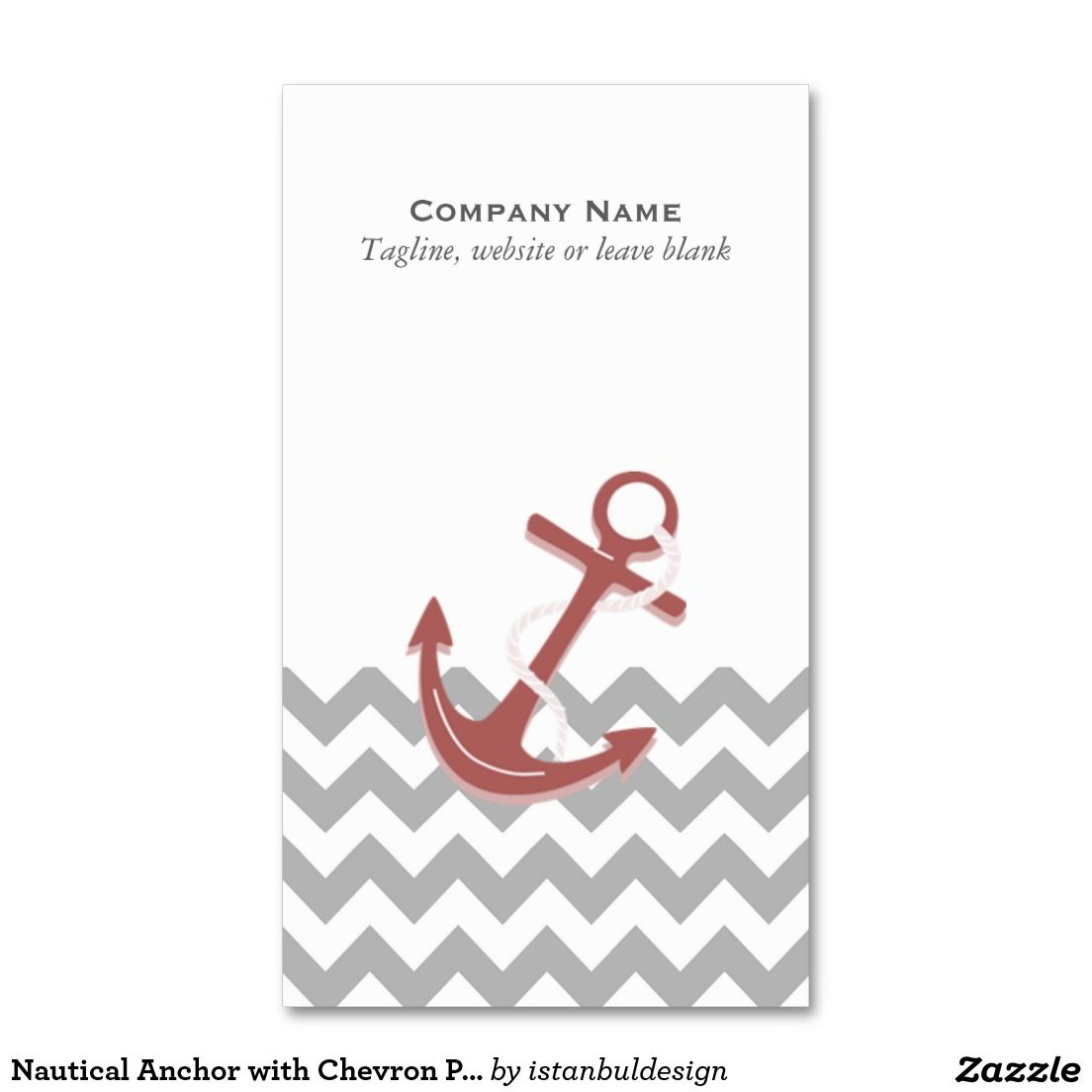 Nautical Anchor with Chevron Pattern Business Card   Nautical ...