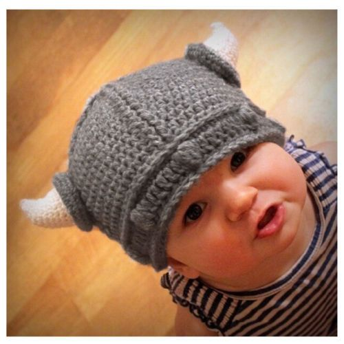New Children Infant Handmade Crochet Winter Hat Kid Viking Horns Hat ...
