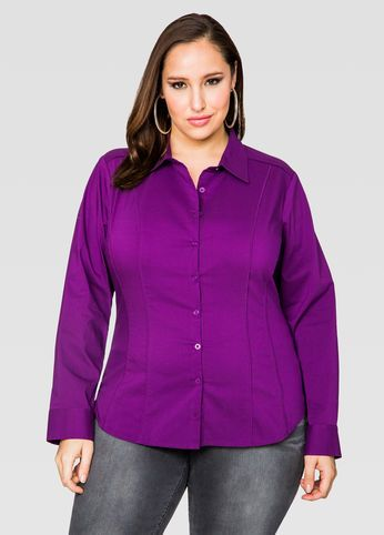 Solid Piped Button Front Shirt Solid Piped Button Front Shirt