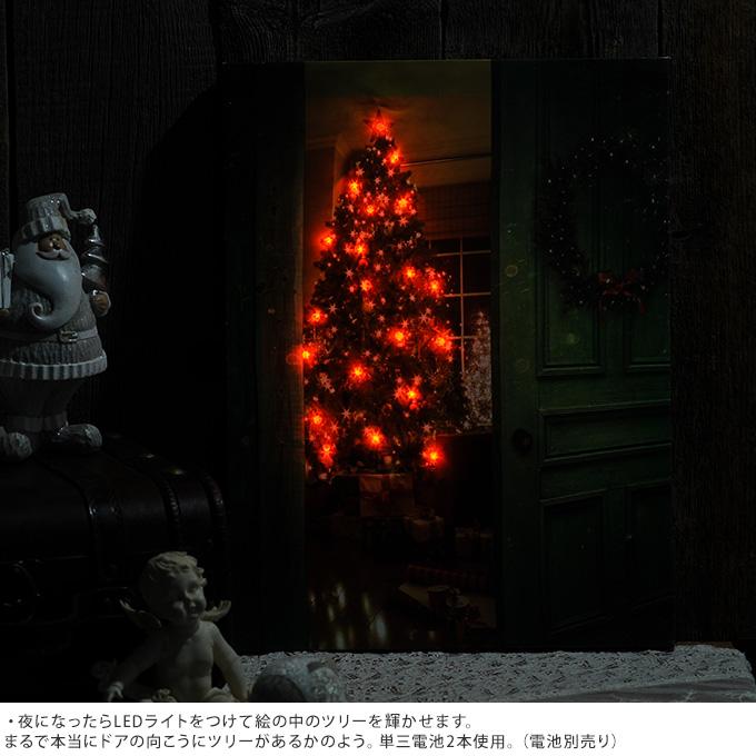北欧 クリスマス 雑貨 ドアの向こうのクリスマスツリー Ledピクチャー