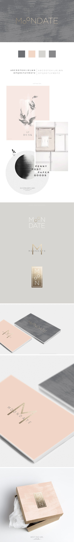 MOONDATE branding, gold foil, modern branding, minimal