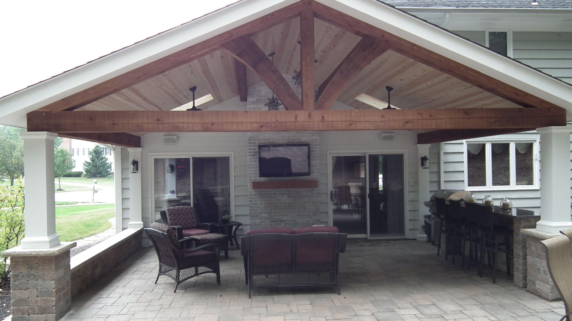 Best Covered Patio Full View Wood Beams Patio Design 400 x 300