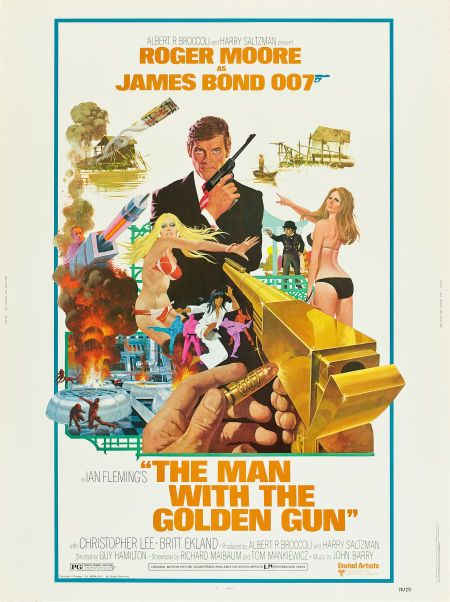 """The Man with the Golden Gun (United Artists, 1974). Poster (30"""" X 40"""").  Adapted from Ian Fleming's last James Bond novel, which had to be published posthumously in a """"rough draft"""" form. British Intelligence has received a threat against James Bond in the form of a gold bullet with his 007 number engraved on it. He follows the trail of the bullet to world-class hit man Scaramanga (Christopher Lee), who wants the killing of James Bond to be his masterpiece. Artist Robert McGinnis."""