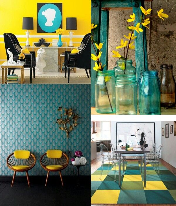 teal and yellow. great colors for bright accents in a white room ...
