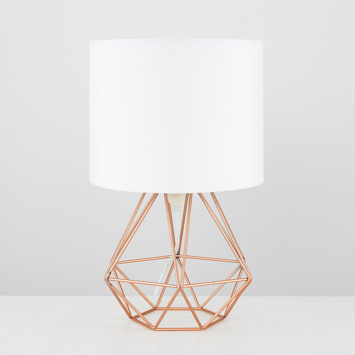 Angus Copper Geometric Base Table Lamp With White Shade Gold Room Decor Geometric Table Lamp Lamps Living Room
