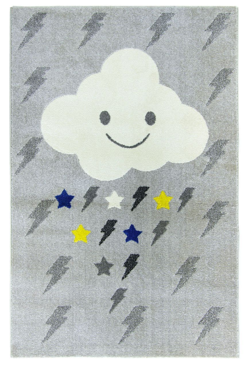 tapis polypropyl ne motif nuage clairs toiles gris jaune. Black Bedroom Furniture Sets. Home Design Ideas