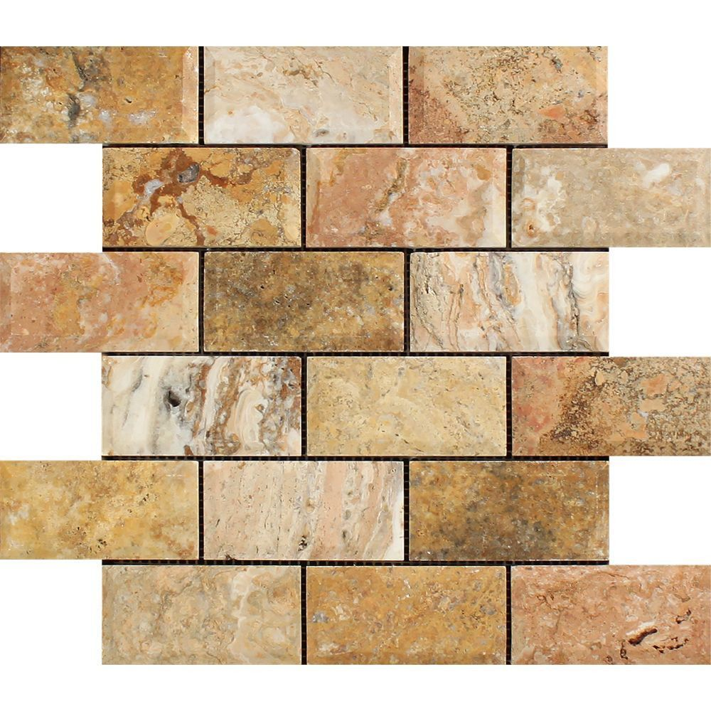 2 X 4 Honed Scabos Travertine Deep Beveled Brick Mosaic Tile Sample Stone Mosaic Tile Travertine Moldings Trim