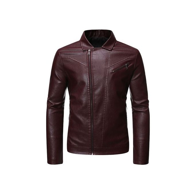 تسوق Fashion Men S Leather Jacket Motorcycle Slim Zip Jacket Wine Red جوميا مصر Men S Leather Jacket Leather Jacket Zip Coat