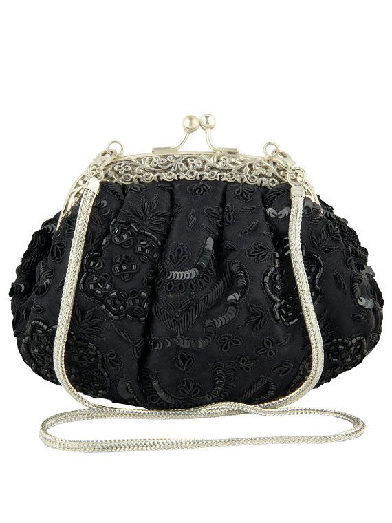 Black Vintage Style Evening Bag Hand Embroidered With Beads And Sequin Embellishments Clutch Or Shoulder Design