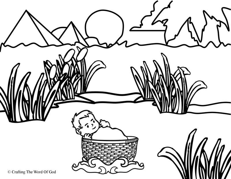 Moses In The Basket Coloring Page Coloring Pages Bible