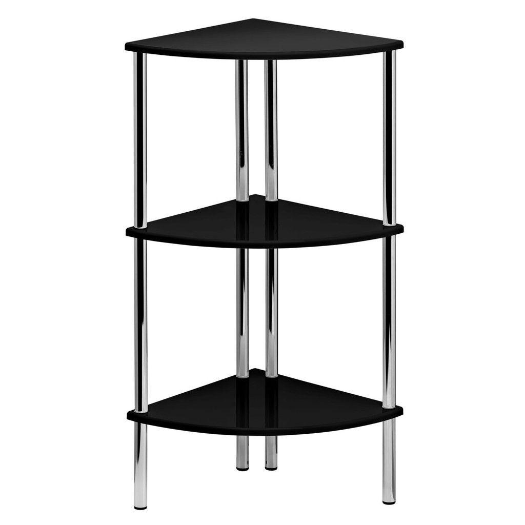 corner shelf unit 3 tier black high gloss chrome finish legs