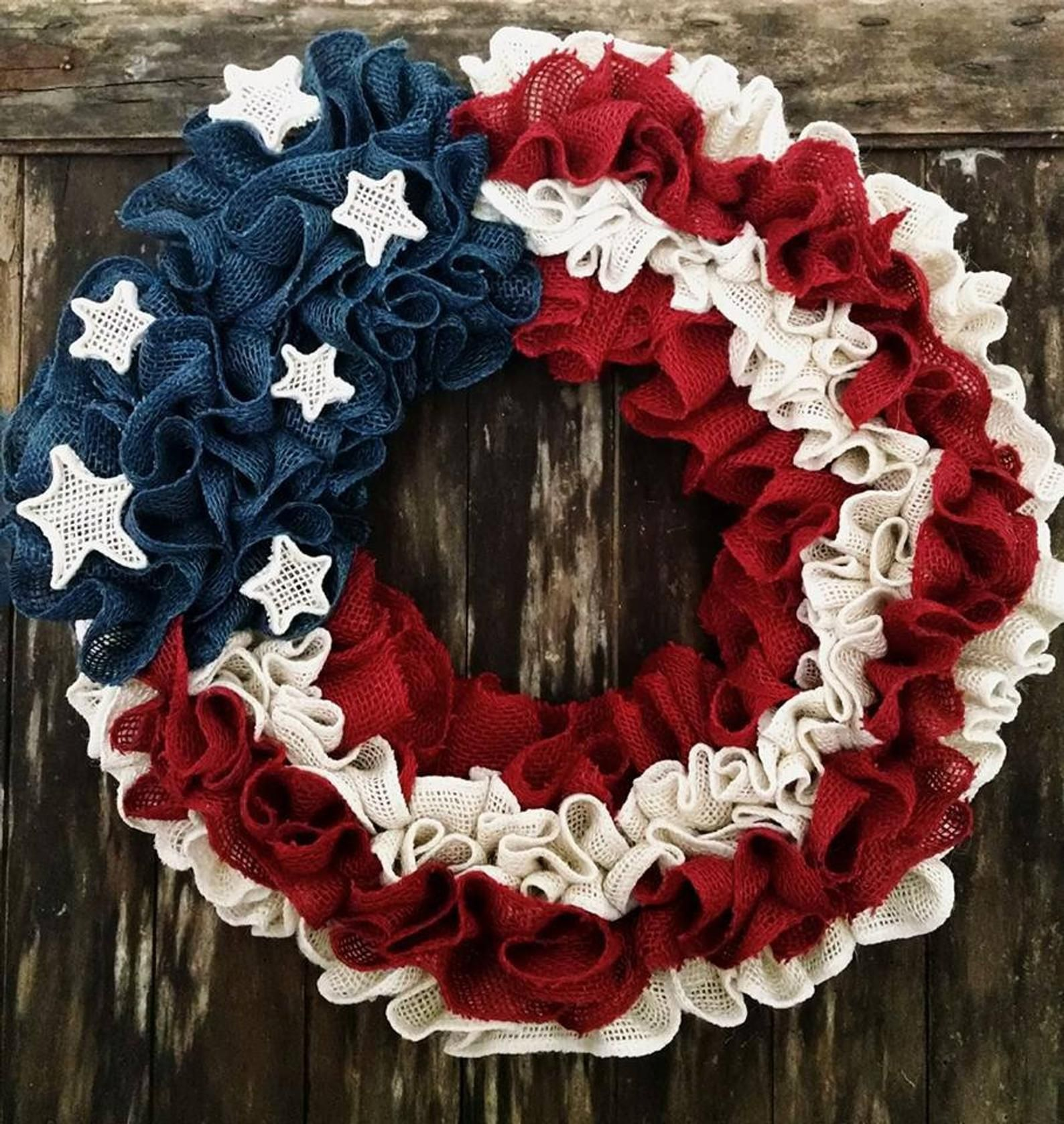 Photo of Items similar to Stars and Stripes burlap wreath on Etsy