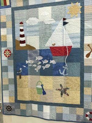 Summer beach scene on a quilt. http://sweetp-paulette.blogspot.com