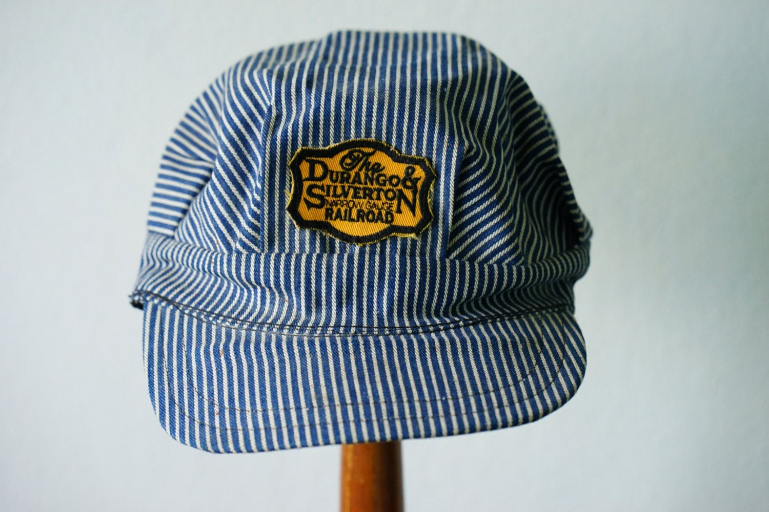 752ba5d265f Engineers Cap  Vintage Hat  Retro Railroad Hat  Denim Cap  Snapback Cap   Hickory Stripe Engineer Cap  Stripe Hat  Durango Silverton Cap by  hisandhervintage ...