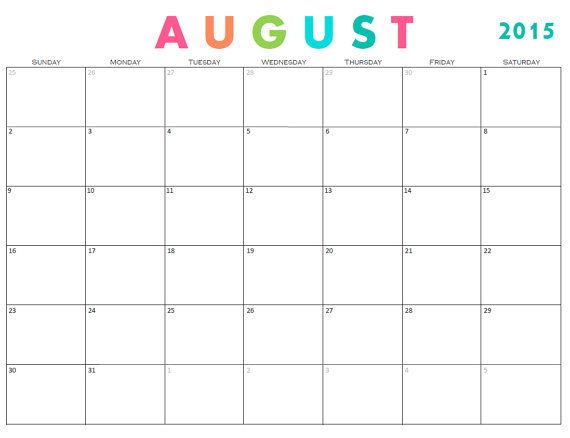 Monthly Calendar Template includes August 2015- December 2016 What - printable monthly calendar
