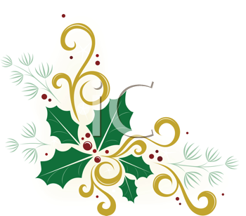 Royalty Free Clipart Image of Holly, Ivy And Pine In A Corner ...