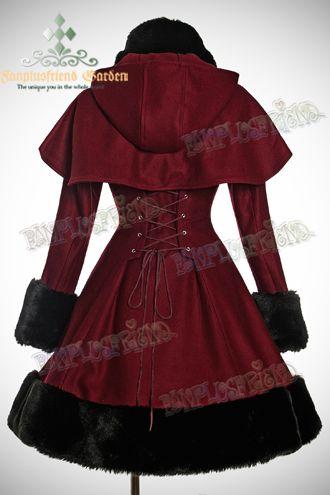 Manteau gothique lolita bordeaux en laine avec fausse fourrure ... 5b7b7e38bca5