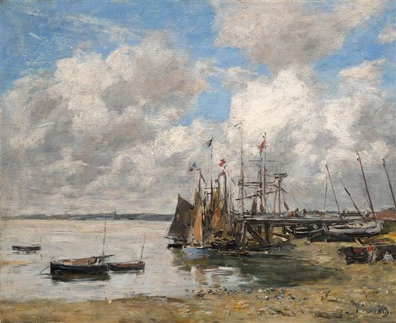 SAILBOAT SHIP ON TOUQUES RIVER NORTHERN FRANCE PAINTING ART REAL CANVAS PRINT