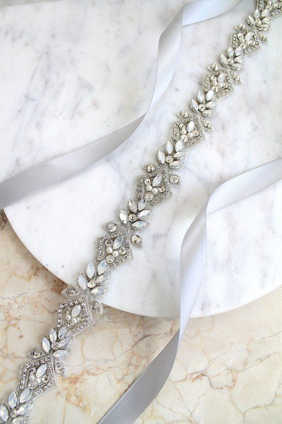Luxury Opal Embroidered All Around Bridal Belt. Silver Crystal Pearl Thin Wedding Dress Sash. Rhinestone Applique Rose gold Trim Sash. EVA