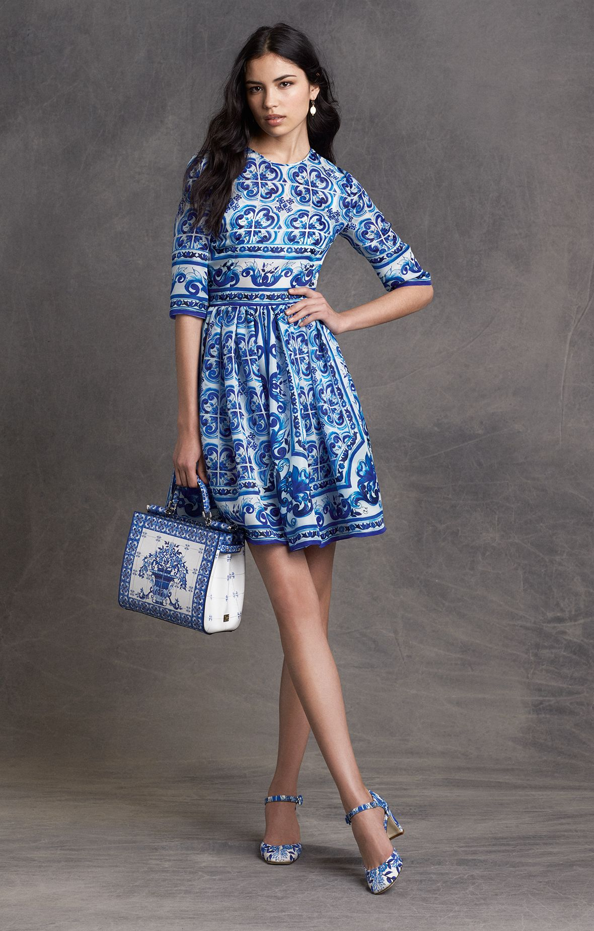 38058e3fc41b7 Discovered this blue and white mosaic D&G dress, inspired by ...