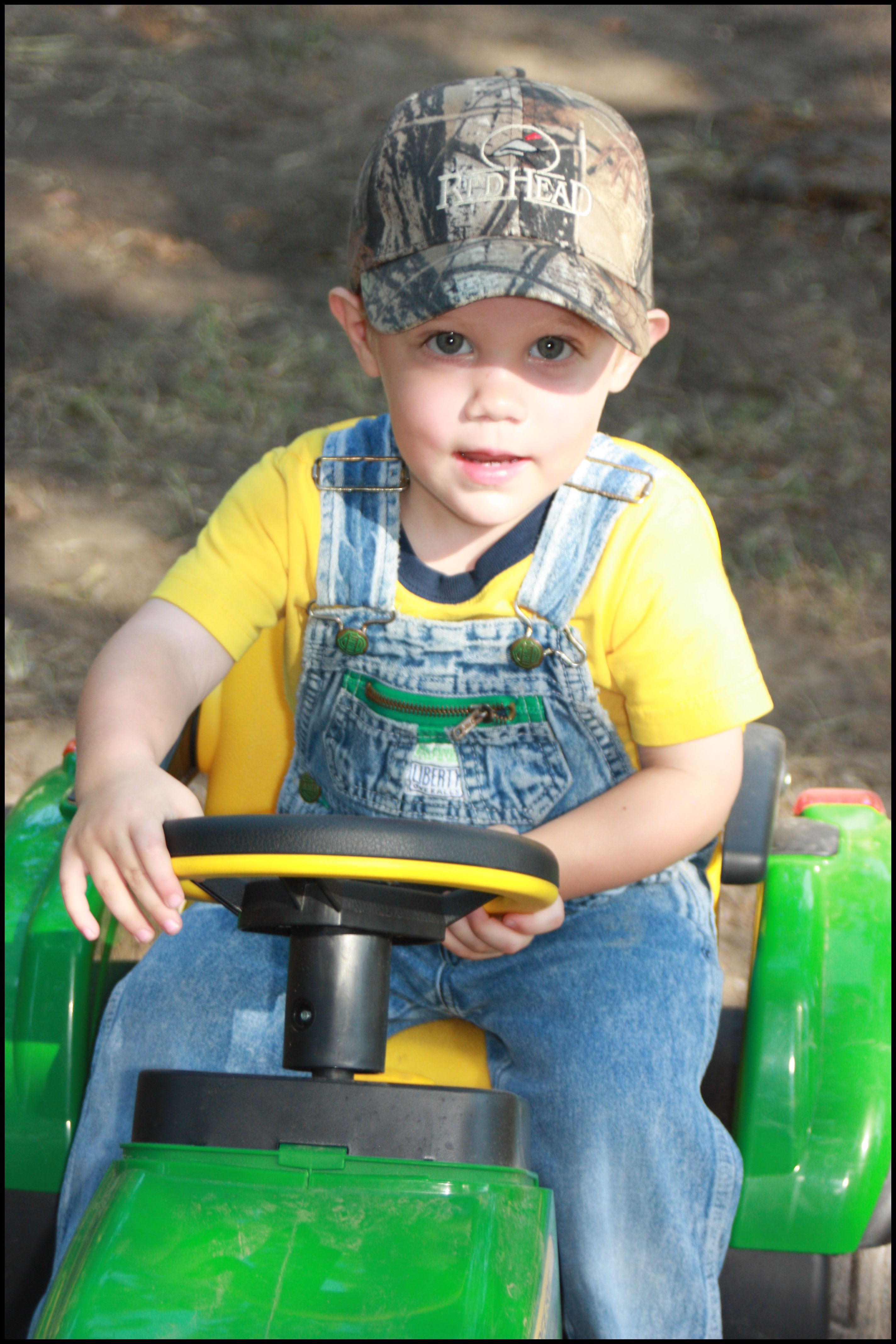 Boy On Tractor : My baby boy on his john deere tractor and camo cap