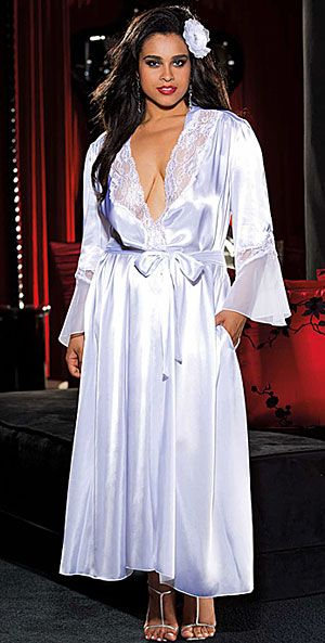 A Queen s Lingerie  Long Glamorous Charmeuse Robe with Chiffon   Lace Trim  in Black cf05a6cfc