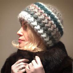 """Купить Шапка """"Незабудка"""" вязанная из кид-мохера, вязаная, женская, теплая. - шапка, шапка вязанная"""