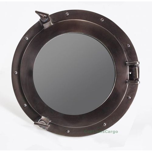 High Quality Nautical Aluminum Bronze Finish Ship Cabin Porthole Round Mirror With Free Shipping!