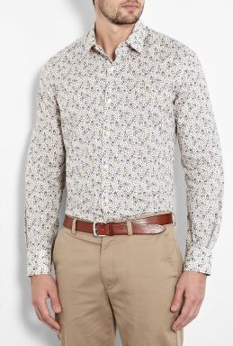 Beige Blue Floral Print Fitted Shirt by Paul Smith London  #PackforParadise Enter Here: http://budurl.com/PackforParadise