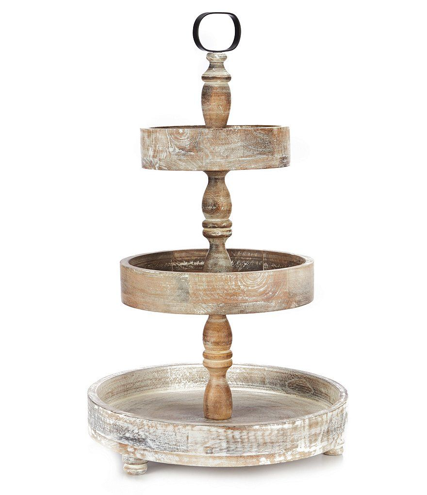 Southern Living Burnt White Washed 3 Tier Round Wood Server Home Decor Styles Tiered Tray Decor Southern Living Homes