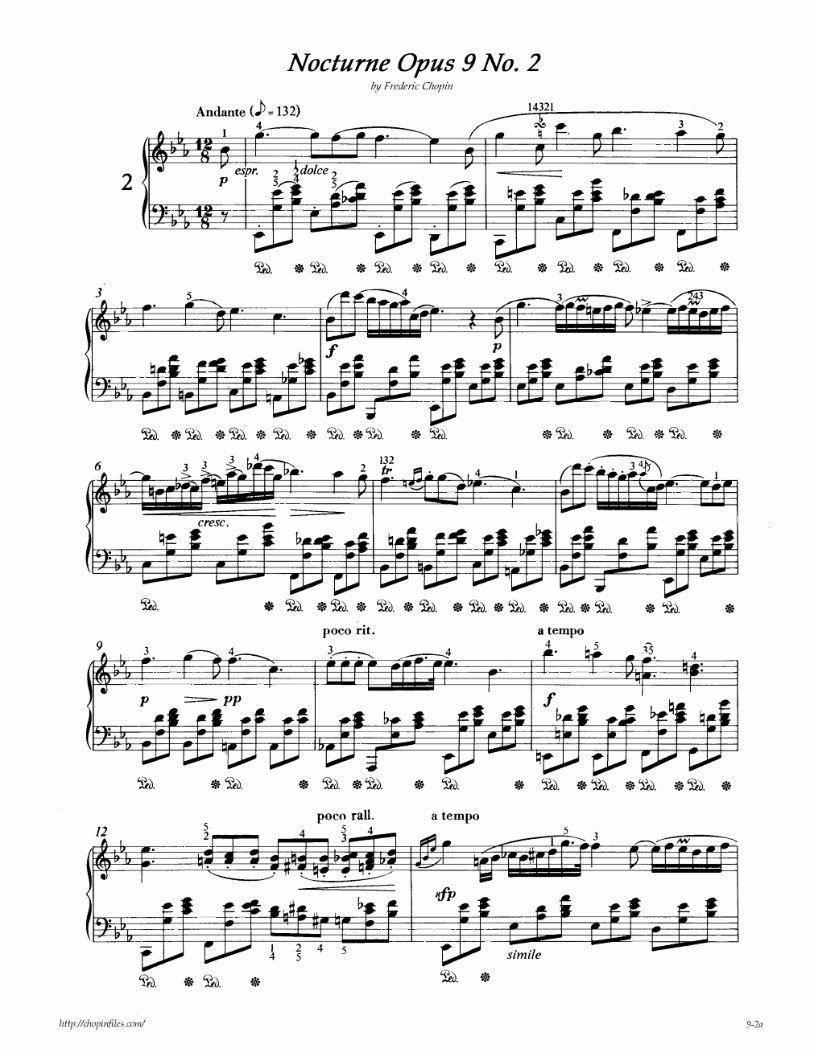Chopin Nocturne Op 9 No 2 Partituras Para Piano Com Imagens