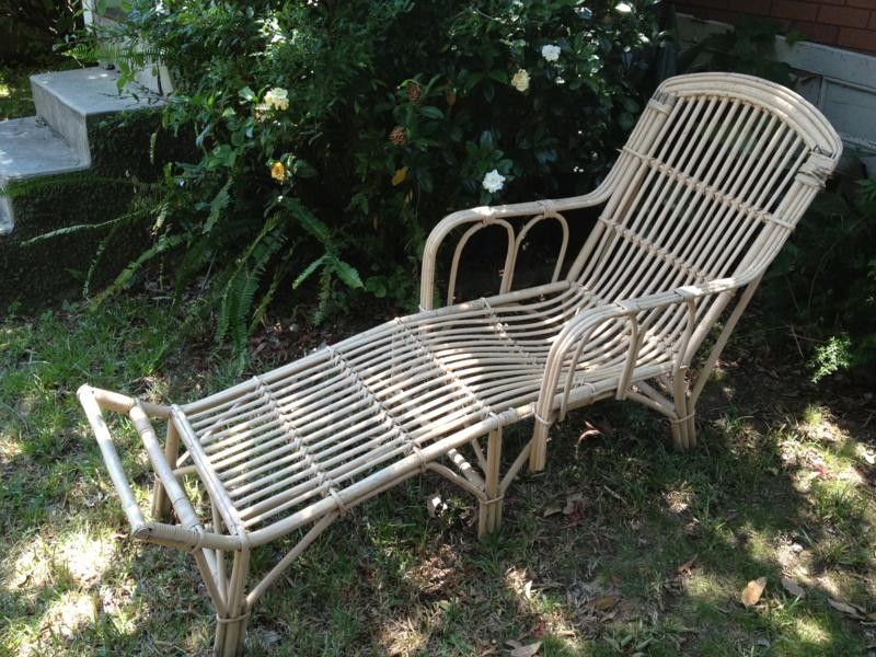 Vintage Retro Cane Outdoor Lounge Chair Recliner Wicker