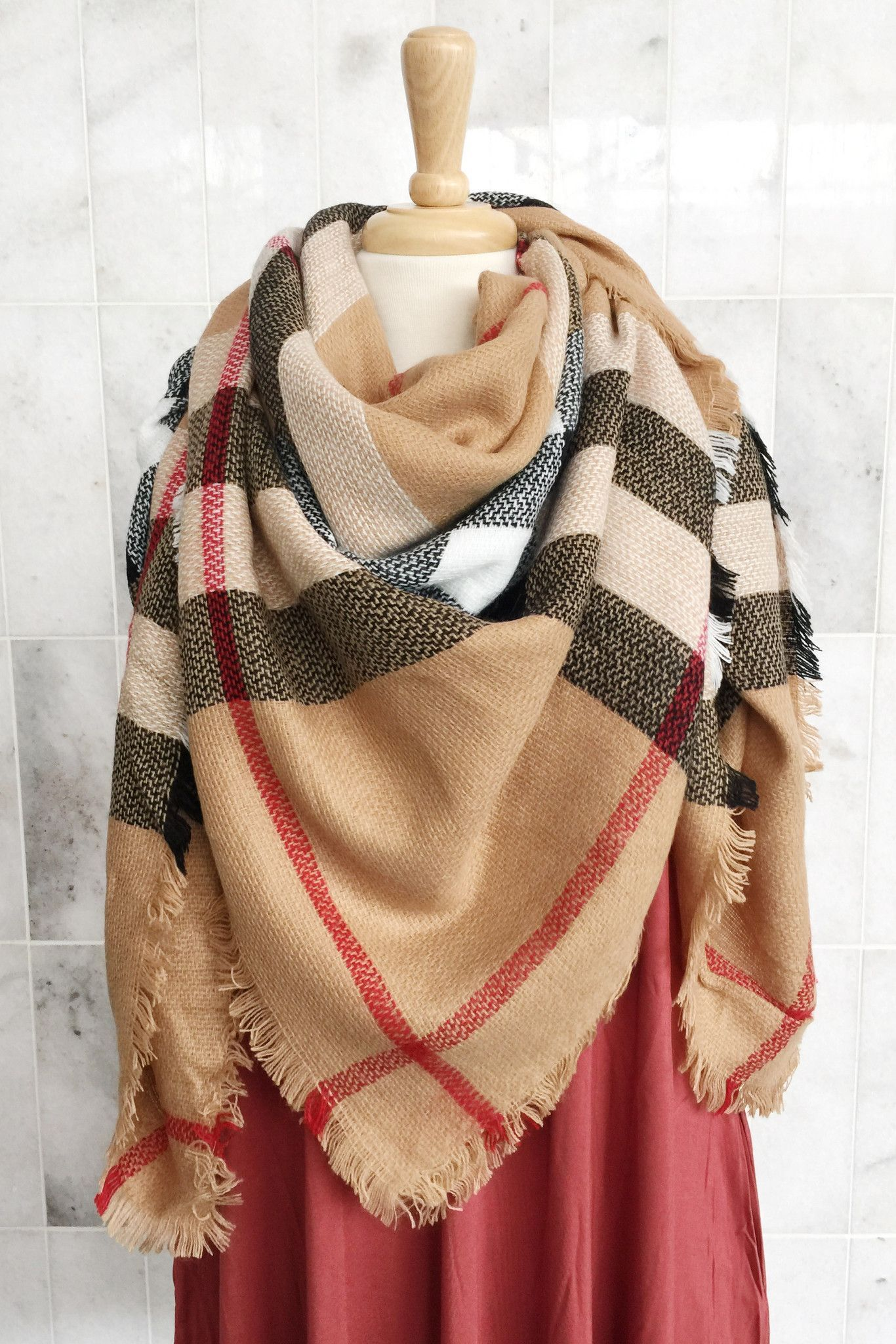 Wrapped In Plaid Scarf, Cappuccino