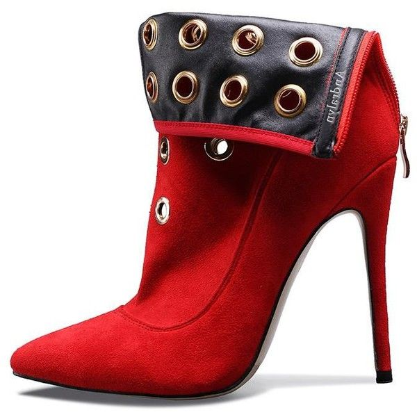 Fire Red Riveted High Heel Suede Ankle Boots ($88) ❤ liked on Polyvore  featuring