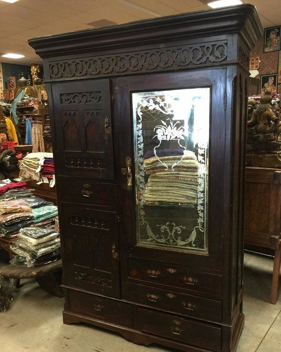 true rustic antique armoire from calcutta india wonderfully comprehensive detailed and crafted in rosewood this cabinet is very vintage piece of indian also rh pinterest