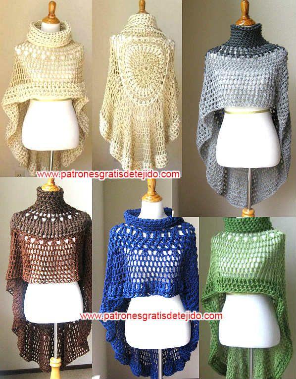 como se tejen los ponchos redondos al crochet | Crochet | Pinterest ...