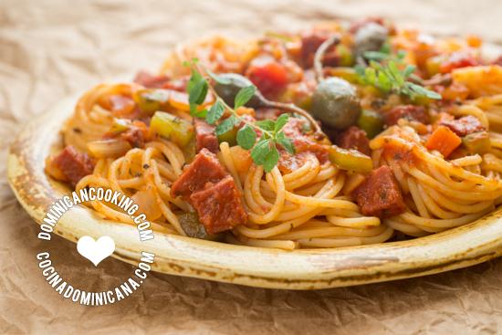 Receta Espagueti Spaghetti a la Dominicana  Receta  Cocina Sudamericana  Pinterest  Espaguetis Recetas y Recetas dominicanas