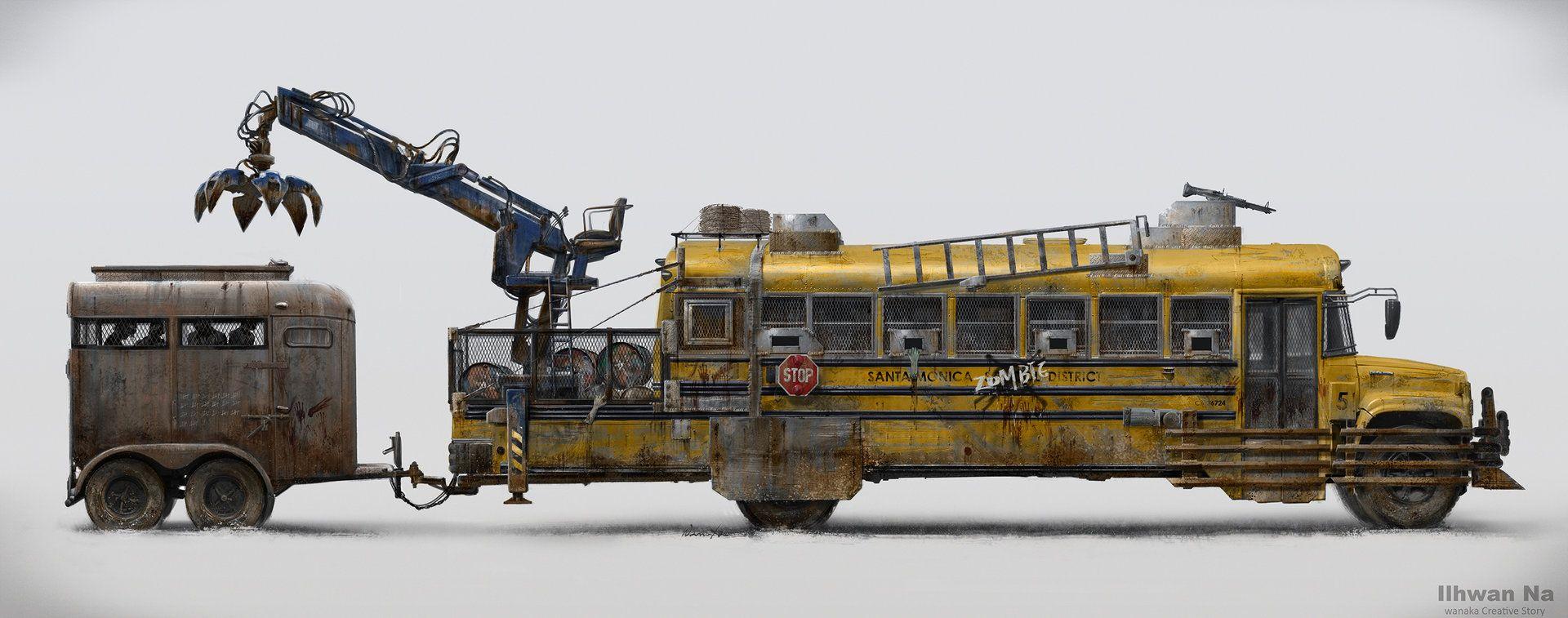 Vehicle bus trailer apocalypse artstation zombie school ilhwan na