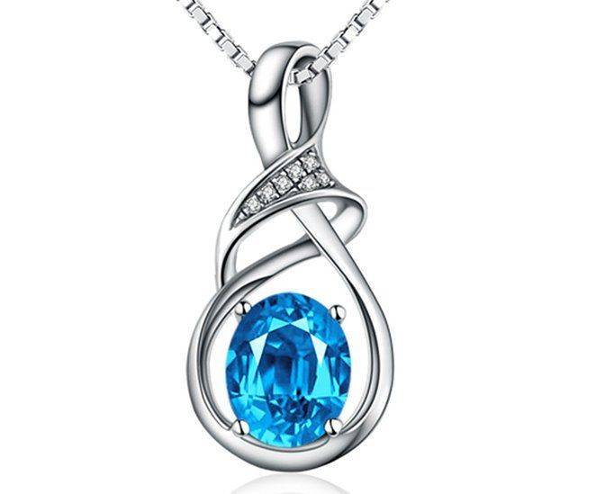 18k White Gold-plated Sterling Silver and Swiss Blue Topaz pendant necklace