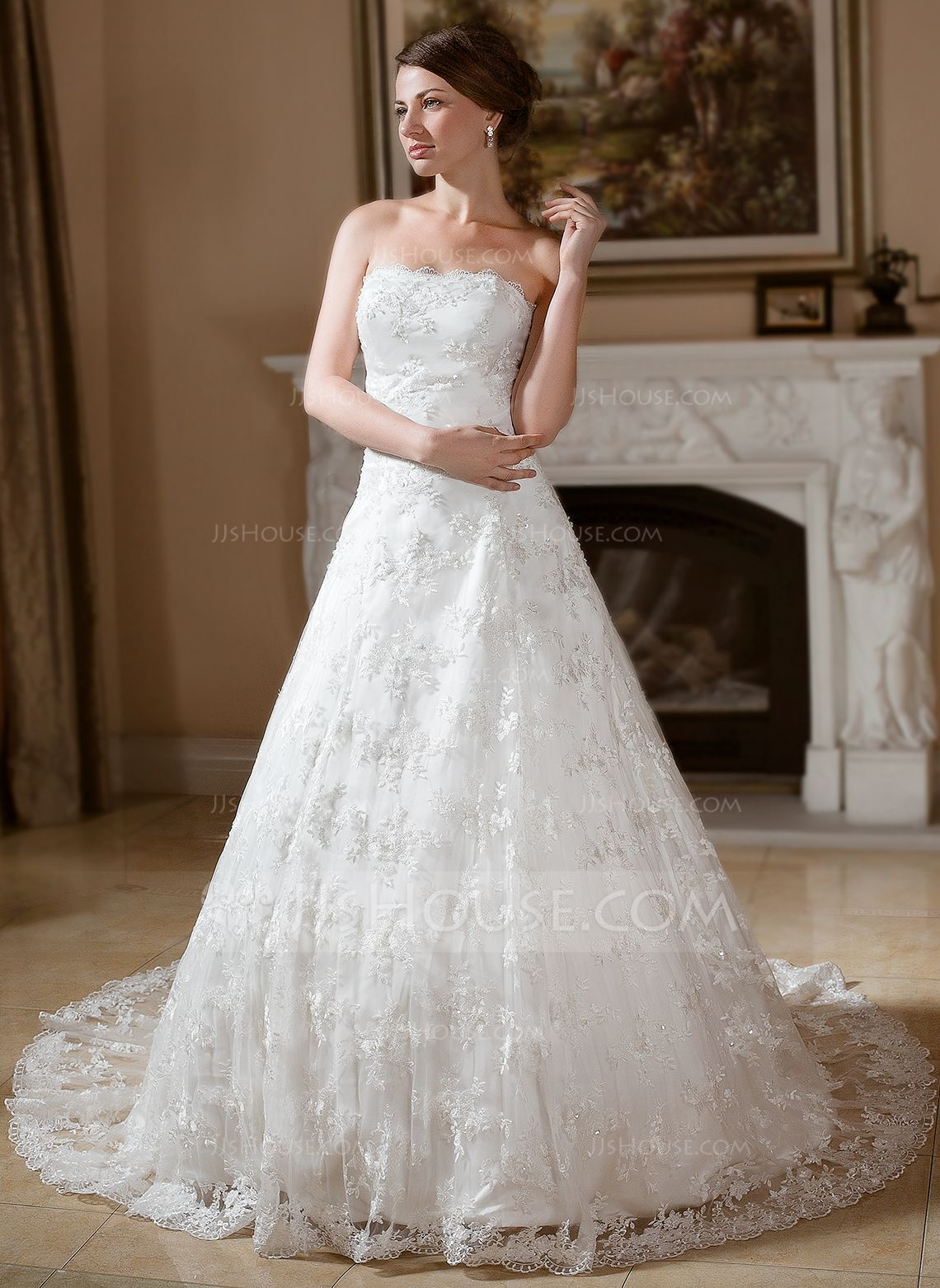 Ballgown strapless chapel train lace wedding dress with beading