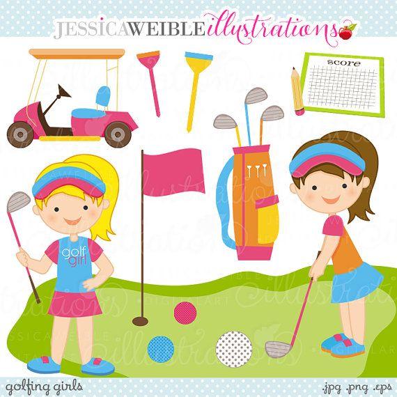 Golfing Girls Cute Digital Clipart Commercial Use Ok Golf Etsy Golf Clip Art Clip Art Digital Clip Art