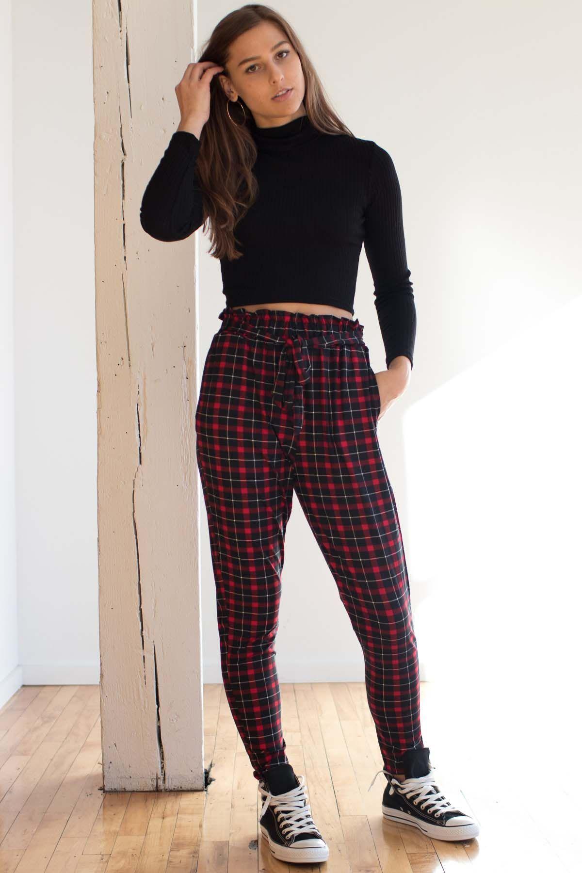 eea7a5c5d3ca8 Red Plaid Paper Bag Pants   • Clothes I Want • in 2018   Pinterest ...