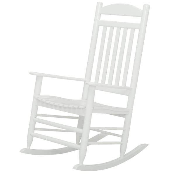 Stupendous Hampton Bay Glossy White Wood Outdoor Rocking Chair Back Pdpeps Interior Chair Design Pdpepsorg