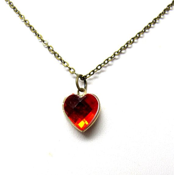 Valentine Locket Necklace  Petite Heart Red