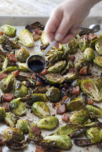 balsamic-roasted brussels sprouts | recipe | ina garten, bacon and
