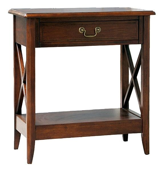 Birchwood Console Table w 1 Drawer & Shelf in Warm Brown Finish