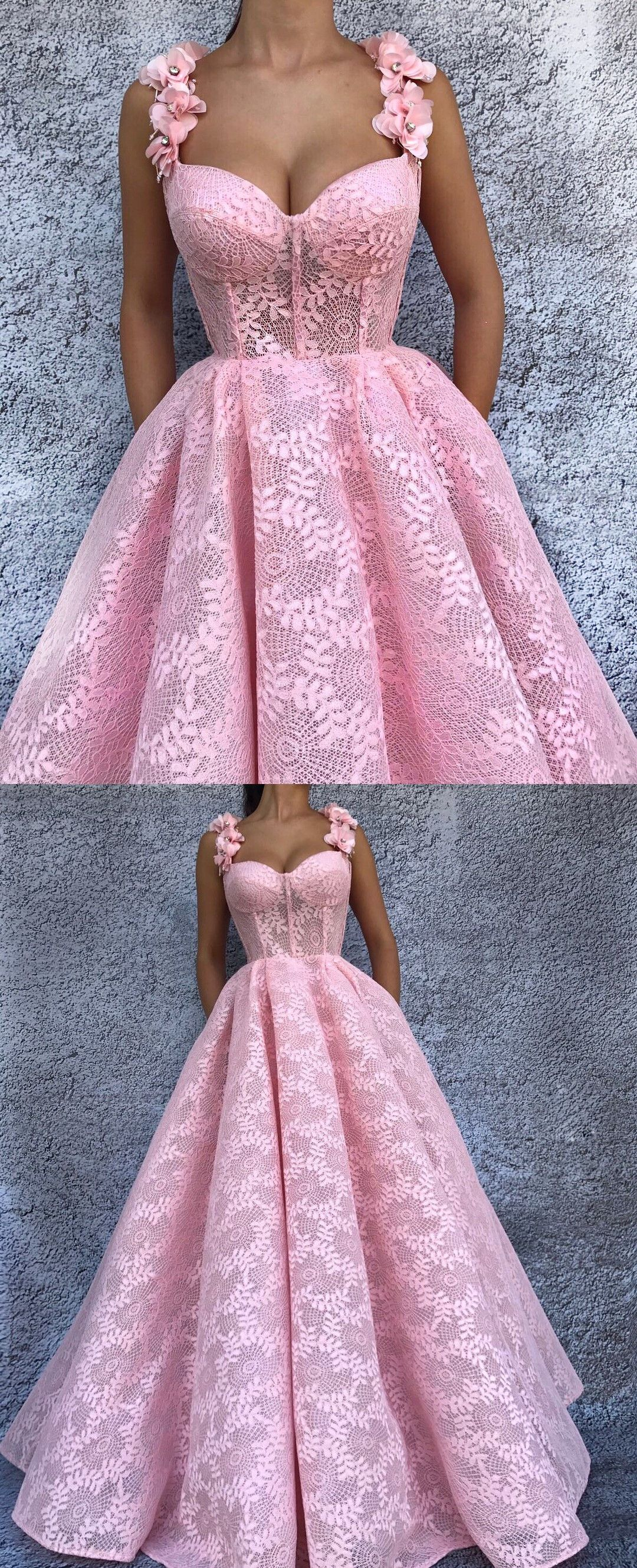 Ball gown spaghetti straps pink lace prom dress with flowers in