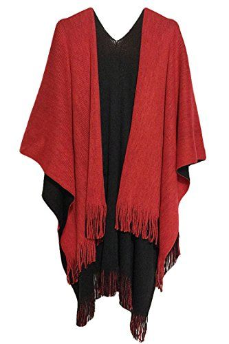 a5f2dab17b Pink Queen Women Winter Fashion Poncho Shawls and Wraps with Fringe Red --  Check out the image by visiting the link.